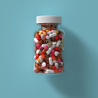キャップ付きガラス瓶の薬の丸薬の3dレンダリング。抽象的な医療イラスト。