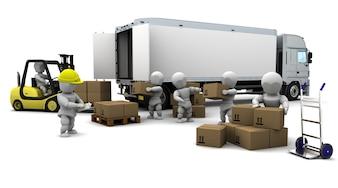 3d render of men loading a trucks