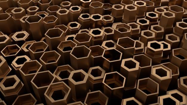 임의의 높이를 가진 금속 모양의 3d 렌더링입니다. 금속 모양 프리미티브는 산업 추상적인 배경을 형성합니다.
