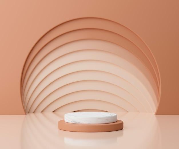 최소한의 스타일 연단 또는 화려한 파스텔 배경에 받침대의 3d 렌더링 추상적 인 개념입니다.