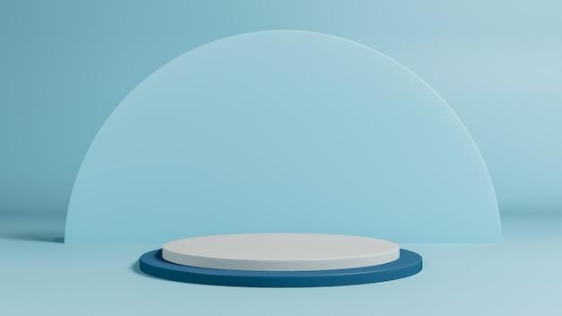 최소한의 스타일 연단 또는 파스텔 배경에 받침대의 3d 렌더링. 추상적 인 개념입니다.
