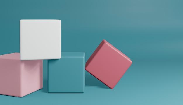 화려한 모양으로 최소한의 스타일 다각형의 3d 렌더링. 추상적 인 고립 된 배경 개념입니다.