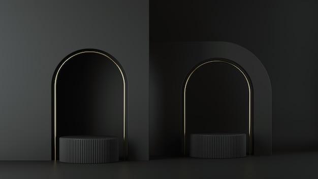 ミニマリストの黒い背景の3dレンダリング。金色の弧を描いた空のシリンダー表彰台。