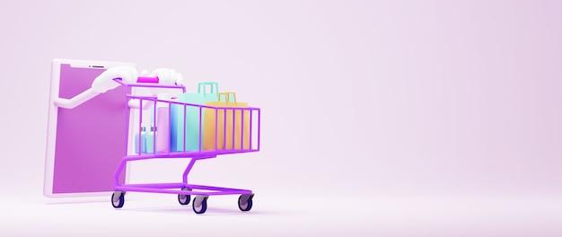 모바일 쇼핑의 3d 렌더링입니다. 온라인 쇼핑 및 웹 비즈니스 개념에 전자 상거래. 스마트 폰으로 안전한 온라인 결제 거래.