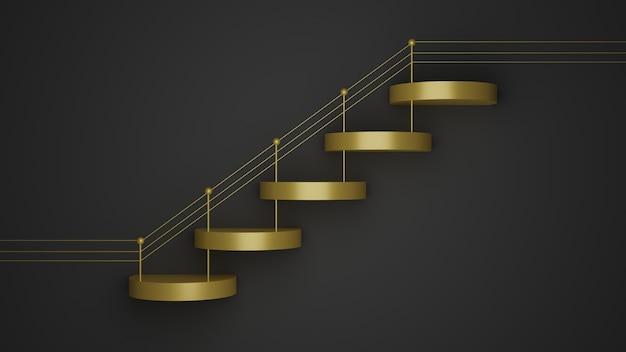 製品設計のための黒い背景に金色の幾何学的なステップ形状の表彰台のモックアップの3 dレンダリング