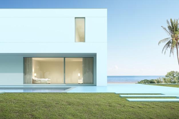 바다 배경에 수영장 현대 집의 3d 렌더링.