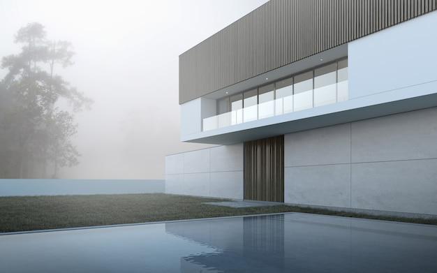 3d визуализация современного дома с бассейном на фоне дерева.