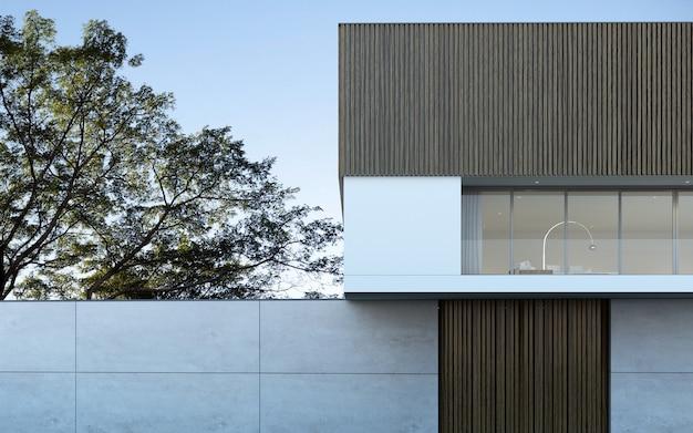 나무 배경에 수영장 현대 집의 3d 렌더링.