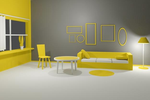 灰色の壁にソファ、テーブル、椅子、空の額縁を備えたモダンなインテリアリビングルームの3dレンダリング。写真、ポスター、絵画がどのように見えるかを示すシーン。イエローグレーのパントンカラー