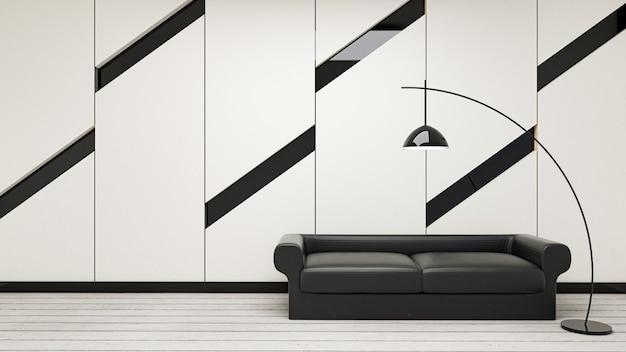 モダンなリビングルーム、黒いソファ、白のランプの3 dレンダリング