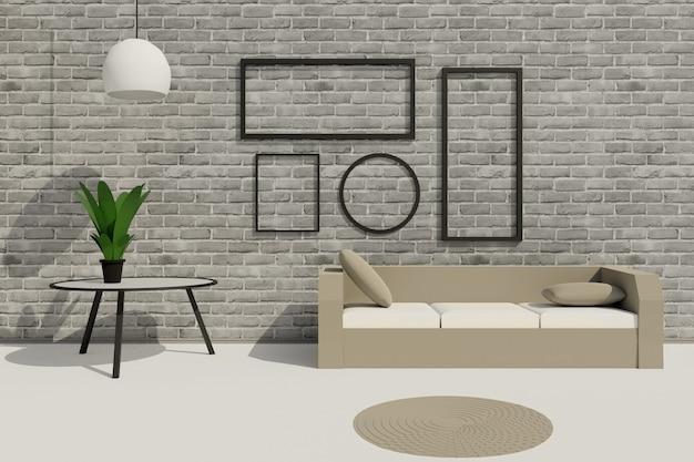 벽돌 회색 벽에 소파, 테이블, 빈 그림 프레임이 있는 현대적인 로프트 거실의 3d 렌더링. 사진, 포스터 또는 그림이 어떻게 보일지 보여주는 장면