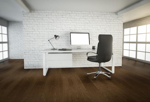 갈색 나무 바닥과 큰 창문이있는 현대적인 사무실 인테리어의 3d 렌더링