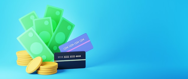 돈과 황금 동전의 3d 렌더링입니다. 온라인 쇼핑 및 웹 비즈니스 개념에 전자 상거래. 스마트 폰으로 안전한 온라인 결제 거래.