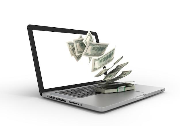 送金、インターネットおよびオンラインバンキングの収入という白い概念に基づいて分離されたパックで、ラップトップから飛び出すお金の3dレンダリング