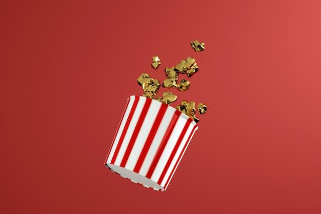 3d визуализация монохромной золотой коробки попкорна. пища левитации. концепция закуски в кино