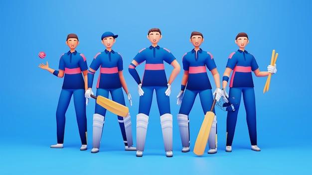 青い背景にトーナメント機器を備えたナミビアクリケットチームプレーヤーの3dレンダリング。