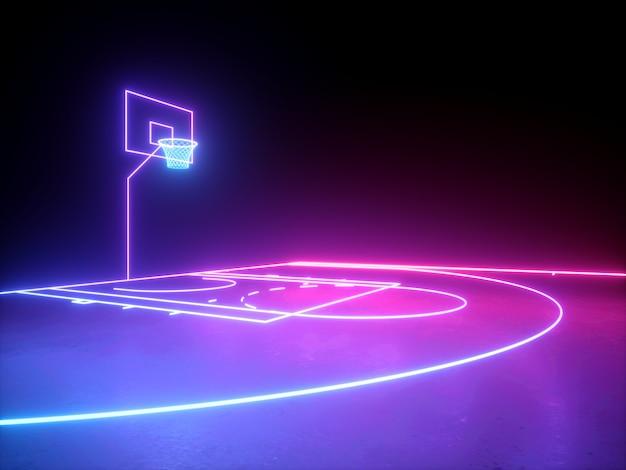 ネオンバスケットボールフィールドスキーム角度側面図仮想スポーツ遊び場の3dレンダリング