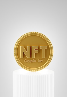 제품 디스플레이를 위해 연단에 디지털 암호화가 있는 nft 코인의 3d 렌더링