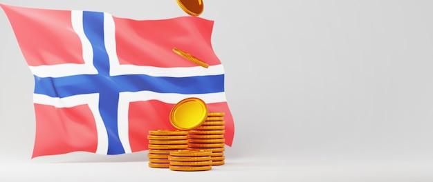 3d визуализация флага норвегии и золотые монеты. интернет-бизнес и электронная коммерция по интернет-магазинам и инвестиционной концепции. безопасная транзакция онлайн-платежей с помощью смартфона.