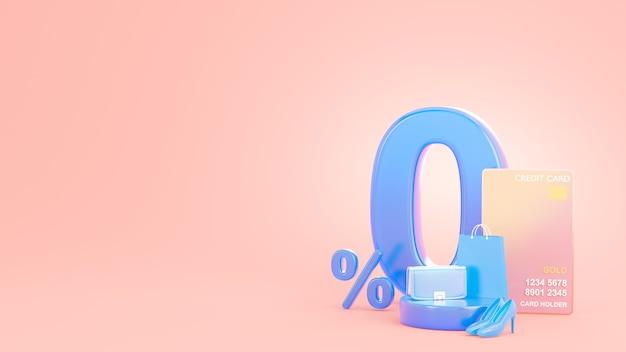 3d визуализация предложения по продвижению нулевого процента с помощью кредитной карты