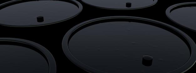 石油バレルのクローズアップ背景、パノラマ画像の3dレンダリング