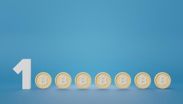 3d визуализация одного миллиона со стеком золотых монет биткойн в экономии денег на концепцию цели