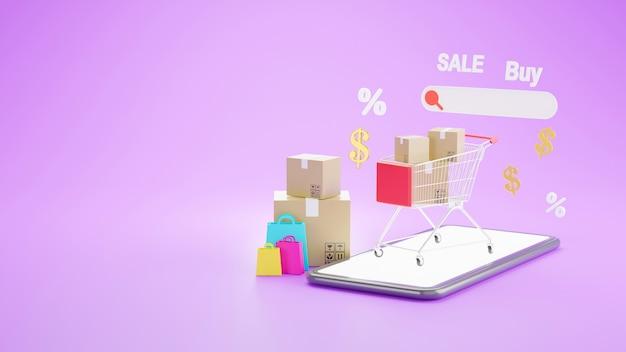 3d визуализация интернет-магазина на концепции мобильного приложения