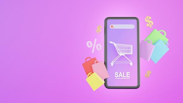 モバイルアプリケーションの概念に関するオンラインショッピングストアの3dレンダリング