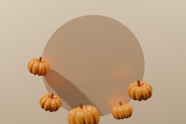 3d визуализация оранжевой рамки из тыквы с бежевым кругом и фоном цвета слоновой кости