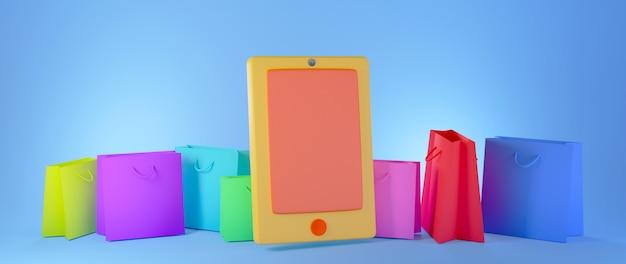 青い背景バナーに分離されたカラフルなショッピングバッグとオレンジ色のスマートフォンの3dレンダリング