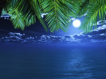 3D render of palm tree fronds looking out to a night time ocean