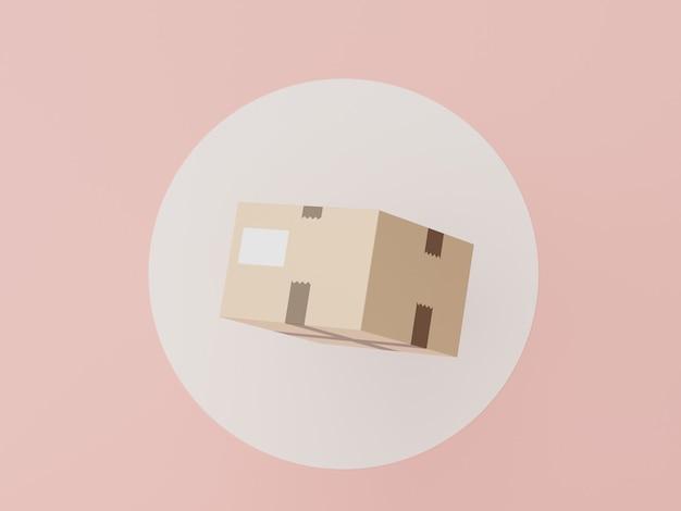 3d-рендеринг картона посылки на белом круге для макета концепции покупок в интернете
