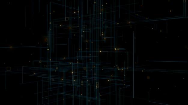 グローとトレイルラインのあるパーティクルの3dレンダリング。被写界深度とぼやけた形の抽象的な背景。細い線と焦点ぼけゾーン。