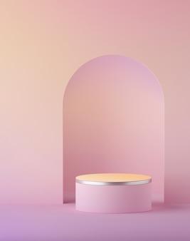 복숭아 핑크 파스텔 실린더 연단의 3d 렌더링