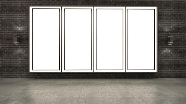 レンガの壁に空白の図枠の3 dレンダリング