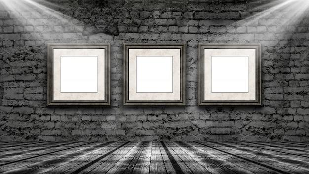 3d-рендеринг рамок для картин, висящих в старой гранж-интерьере