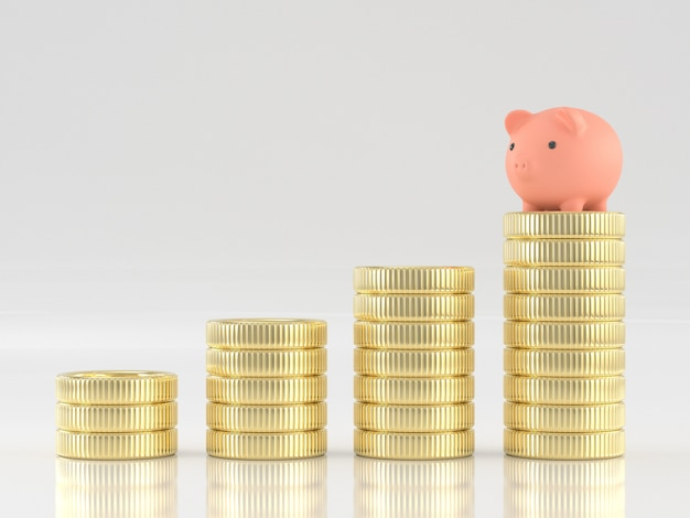 お金コインスタックの貯金箱の3 dレンダリング