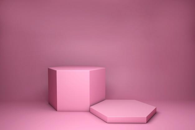 3d визуализация розовых абстрактных геометрических фигур, изолированных на ярком пастельном фоне. пустая минимальная концепция дизайна. сцена для церемонии награждения на сайте в современной розовой форме