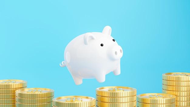 3d визуализация розовой копилки с золотыми монетами для экономии денег