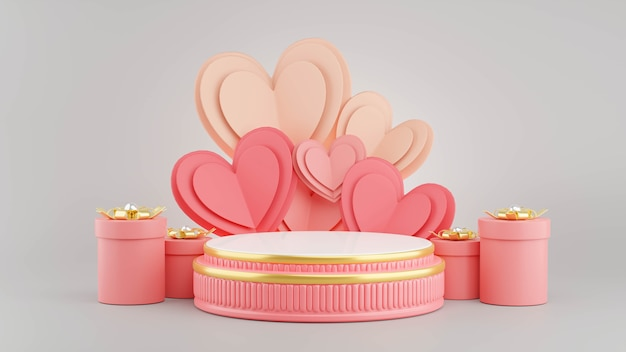 3d визуализация розового подиума с концепцией валентинки для отображения продукта