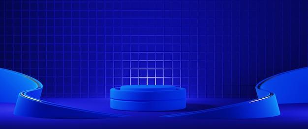 表彰台の3dレンダリング。青い色の背景。モダンなデザイン。