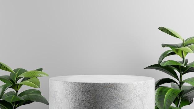 製品ディスプレイ用の植物を使用した表彰台コンクリートの3dレンダリング