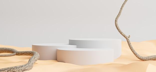 3d визуализация подиума с фоном пустыни, ветки для отображения вашего продукта