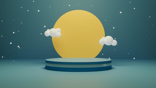 3d визуализация подиума с фантастической сценой с солнцем и облаками