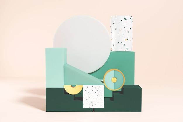 ゴム粘土ガラスとテラゾで作られたプレミアム表彰台スタンドの3dレンダリング製品と化粧品のプレゼンテーションとモックアップのための空の表彰台ディスプレイの抽象的な背景