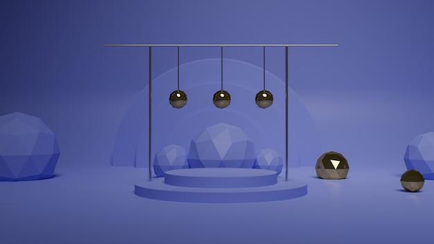 금속 공 보라색 라운드 연단의 3d 렌더링