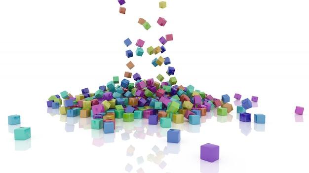 虹色のキューブの3dレンダリング