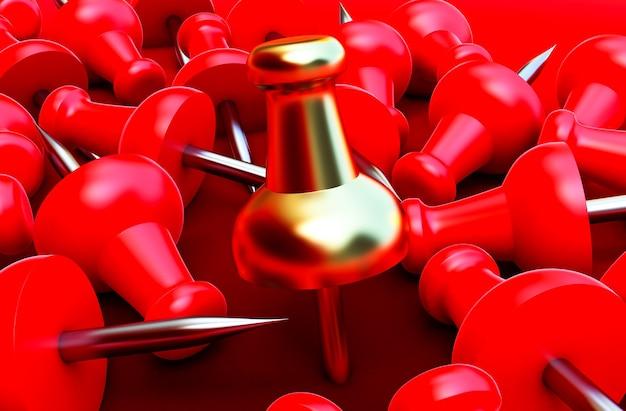 3d визуализация красной и золотой канцелярской кнопки, реалистичные 3d канцелярские кнопки, закрепленные под разными углами.