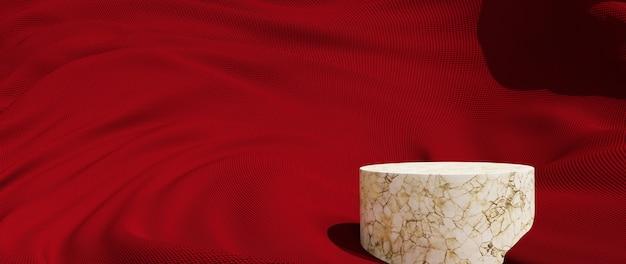 붉은 천과 대리석 연단의 3d 렌더링입니다. 추상 미술 패션 배경입니다. 장면 무대 플랫폼 쇼케이스, 제품, 프레젠테이션, 연단의 화장품.