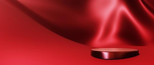 붉은 천과 연단의 3d 렌더링입니다. 추상 미술 패션 배경입니다. 장면 무대 플랫폼 쇼케이스, 제품, 프레젠테이션, 연단의 화장품.